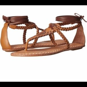 Dolce Vita Keoni tan leather ankle wrap sandals